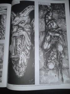 All'interno del libretto con le illustrazioni da mostrare ai giocatori è rappresentato l'ingresso alla Fortezza della Conclusione (sinistra) e il triste fato del mago Desatysso (destra)